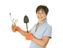 女性花匠园艺工具 免版税库存图片