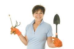 女性花匠园艺工具 免版税图库摄影
