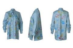 女性蓝色衬衣 免版税图库摄影