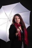 女性藏品伞白色 免版税库存照片