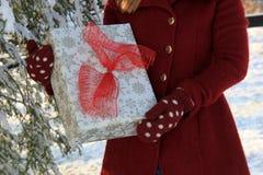 女性藏品包裹了礼物用在冷漠的设置的mittened手 库存图片