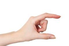 女性被隔绝的手举行的或测量的姿态 免版税库存照片