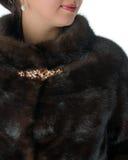 女性貂皮皮大衣的片段 免版税库存图片