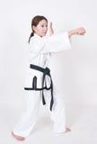 女性跆拳道运动员 库存图片