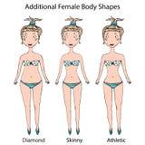 女性身体形状类型 金刚石,皮包骨头,运动女孩 现实手拉的乱画样式剪影 也corel凹道例证向量 库存图片
