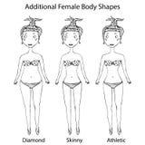 女性身体形状类型 金刚石,皮包骨头,运动女孩 现实手拉的乱画样式剪影 也corel凹道例证向量 图库摄影