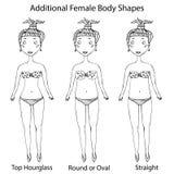 女性身体形状类型 顶面滴漏,在周围或卵形和直接 现实手拉的乱画样式剪影 向量 库存图片