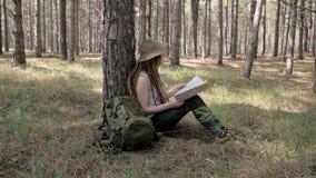 女性远足者在森林里 股票视频