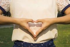 女性递心脏 库存照片