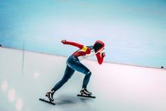 女性速度溜冰者 库存图片