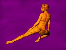 女性针灸模型GF-POSE Bwc-v5-02-5, 3D例证 免版税库存照片