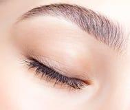 女性闭合的眼睛和眉头有天构成的 免版税库存照片