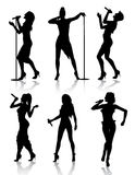 女性集合剪影歌唱家 免版税图库摄影