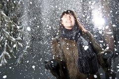 女性雪 免版税图库摄影