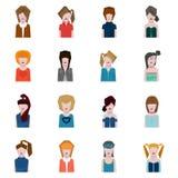 女性面孔具体化,平的样式 免版税图库摄影
