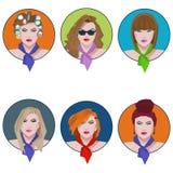 女性面孔发型平的样式 库存照片