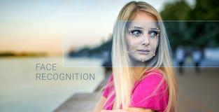 女性面孔的公认 生物统计的证明和证明 库存图片