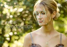 女性面孔的公认 生物统计的证明和证明 免版税库存图片