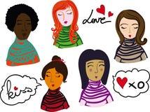 女性面对手拉的传染媒介例证 五颜六色的女性动画片面孔 库存照片