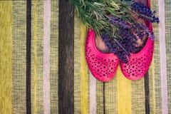 女性鞋子和花 库存照片