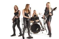 女性音乐带画象  免版税库存图片