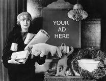 女性顾客和标志以购物天的数量,直到圣诞节(所有的人被描述不是更长生存和前没有的庄园 免版税库存图片