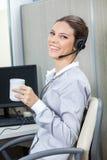 年轻女性顾客服务画象  免版税库存图片