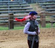 女性马背射击的辅助MD新生节日 免版税库存图片