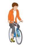 女性骑自行车者-短发 库存照片
