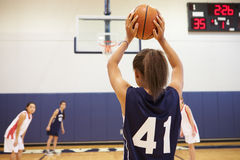 女性高中蓝球运动员射击篮子 图库摄影