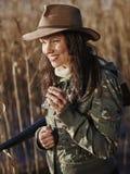 女性鸭子猎人 库存图片
