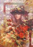 女性,手工制造绘画 免版税库存照片