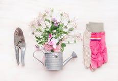 女性从事园艺的工作区,有花的园艺工具在白色木背景,顶视图的喷壶 免版税库存图片