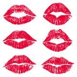 女性嘴唇亲吻印刷品集合 库存照片