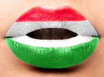 女性嘴唇关闭与匈牙利的图片旗子 黑,红色,黄色 库存照片