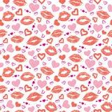 女性嘴唇心脏无缝的样式 库存图片