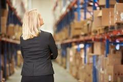 女性经理背面图在仓库里 库存图片