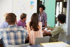 女性经理主导的激发灵感会议在办公室 免版税库存图片