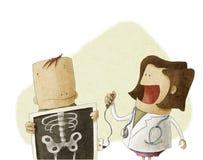女性医生做患者X-射线身体 免版税图库摄影