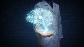 女性医生开放棕榈,数字式脑子形状连接数字线路,扩展人工智能 库存例证