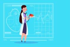 女性Cardiologist Examining Heart With医生听诊器诊所工作者医院 库存照片