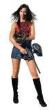 女性paintball球员 免版税库存图片