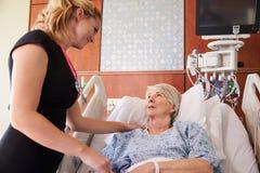 女性Talks To Senior Female医生患者在医院病床上 库存图片