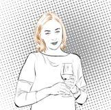 女招待 妇女拿着杯酒 妇女喝 时间放松 皇族释放例证