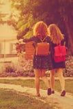 女朋友步行通过公园 免版税库存照片