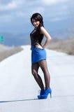 女服一只蓝色裙子和黑长袜在开放路摆在 库存照片