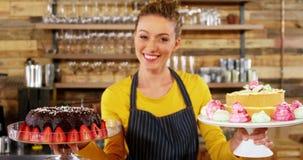 女服务员在蛋糕立场的藏品蛋糕画象在café 股票视频