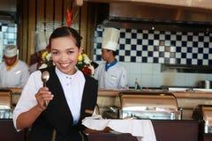 女服务员工作 图库摄影
