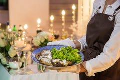女服务员拿着一个盘用饮食肉和菜 库存图片