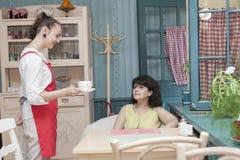 女服务员服务一个访客对咖啡馆 免版税库存图片